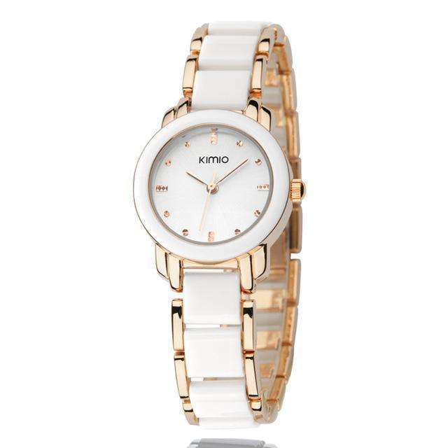 Ceramic Luxury Gold White Bracelet Watch By Kimio
