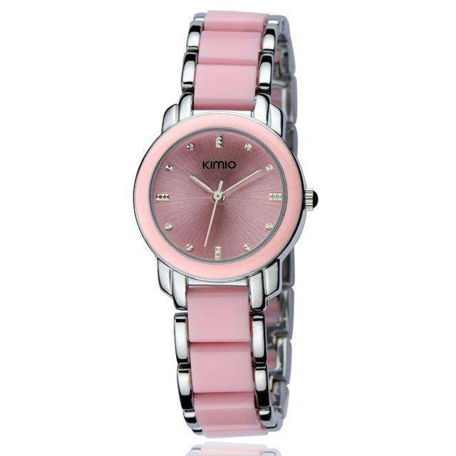 Ceramic Luxury Pink Silver Bracelet Watch By Kimio