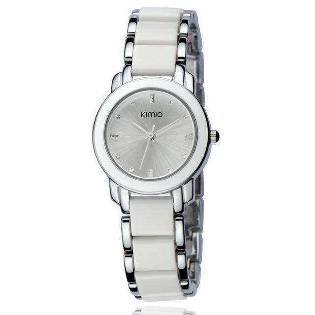 Ceramic Luxury White Silver Bracelet Watch By Kimio