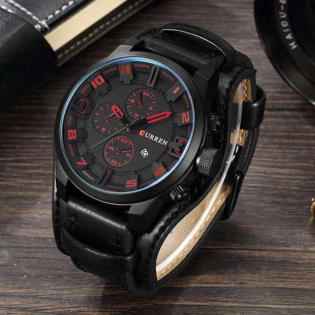 CURREN Luxury Military Leather Strap Watch