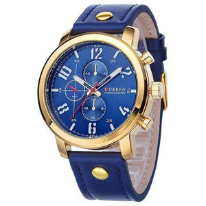 CURREN Luxury Sports Military Leather Strap Blue Watch