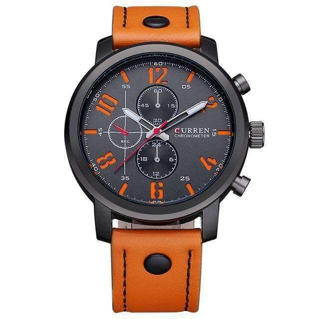 CURREN Luxury Sports Military Leather Strap Orange Black Watch