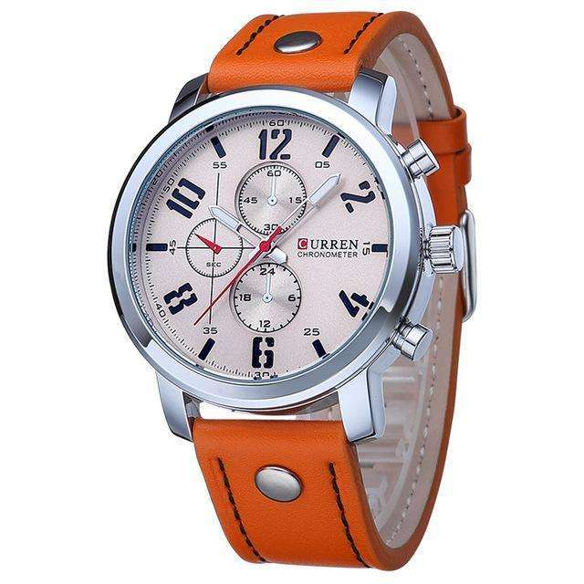 CURREN Luxury Sports Military Leather Strap Orange White Watch