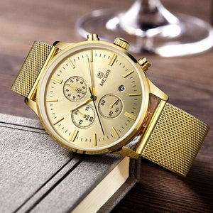 Fashion Stylish MEGIR Gold Stainless Steel Mesh Band Watch
