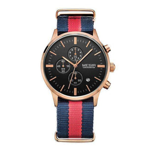 Fashion Stylish MEGIR Rose Gold Chronograph Canvas Band Watch