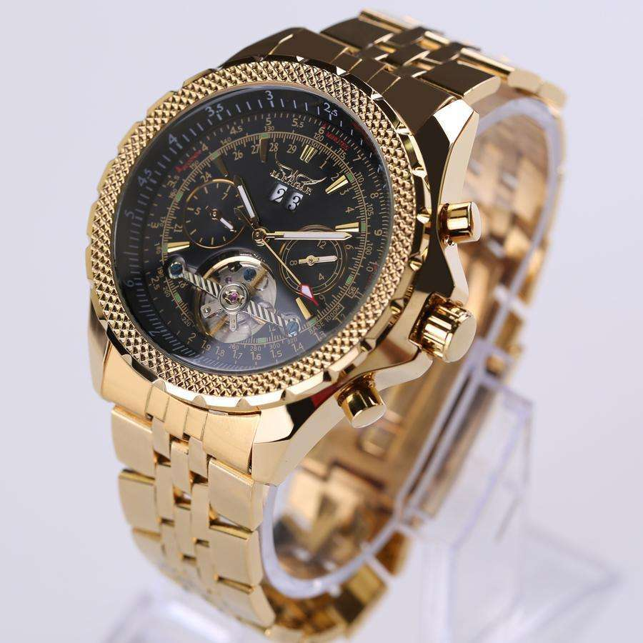 JARAGAR Luxury Gold Automatic Stainless Steel Watch