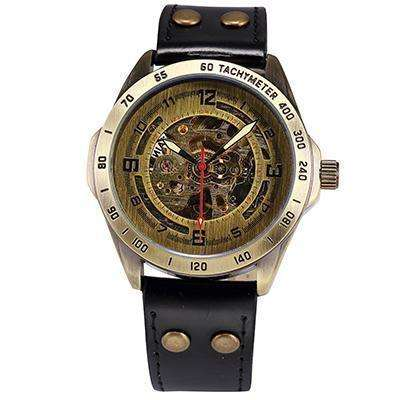 LIMITED EDITION Modern Automatic Gold Mechanical Watch Black Leather Band By Shenhua