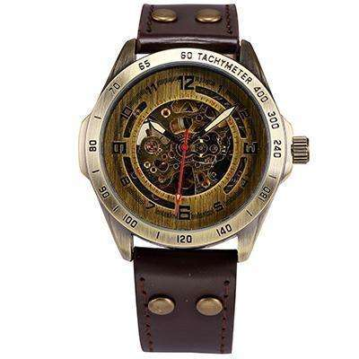LIMITED EDITION Modern Automatic Gold Mechanical Watch Brown Leather Band By Shenhua