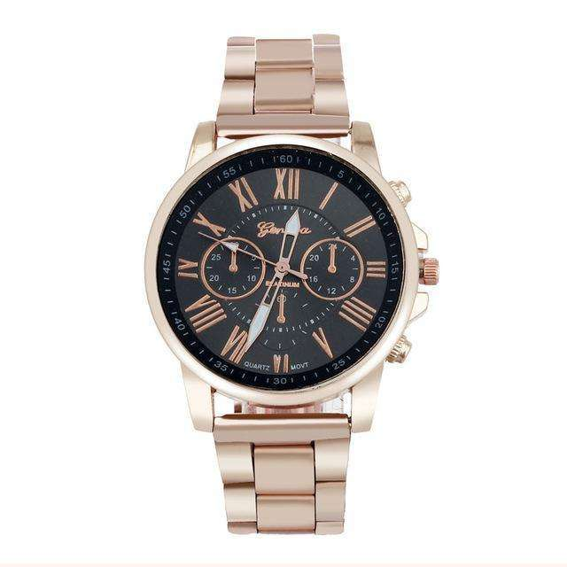 Luxury Stainless Steel Rose Gold Black Watch By Genvivia