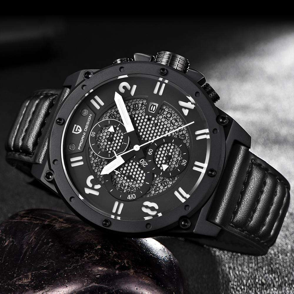PAGANI DESIGN Chronograph Leather Waterproof Military Watch