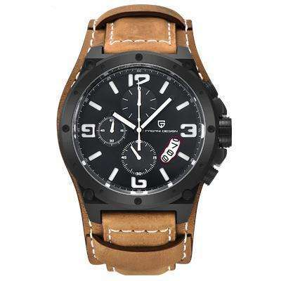 PAGANI DESIGN Military Leather Water Resistant Watch