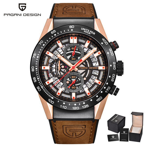 PAGANI DESIGN Chronograph Leather Watch