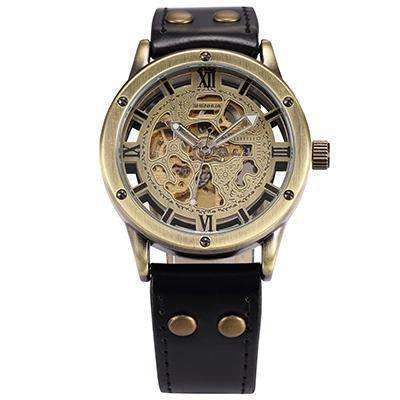 Retro Automatic Gold Mechanical Watch Black Leather Band By Shenhua