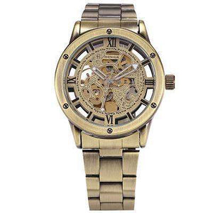 Retro Automatic Gold Mechanical Watch Stainless Steel Band By Shenhua