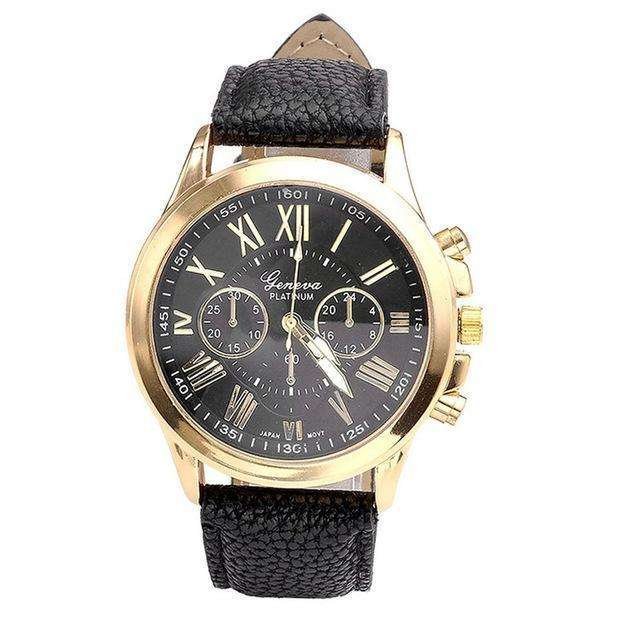 Roman Numerals Women Watch Gold And Black By Quartz