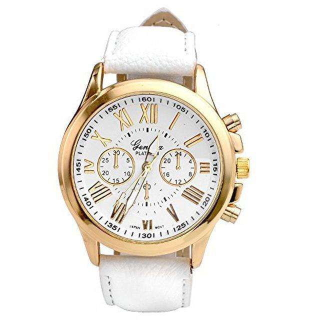 Roman Numerals Women Watch White And Gold By Quartz