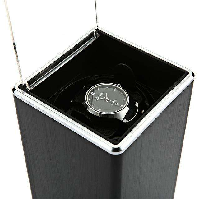 Smooth Black Automatic Rotation Watch Winder Display Box