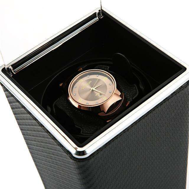 Smooth Rough Black Automatic Rotation Watch Winder Display Box