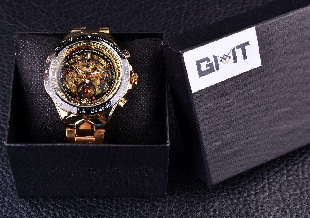 Sport Design Black And Gold Automatic Watch By Winner
