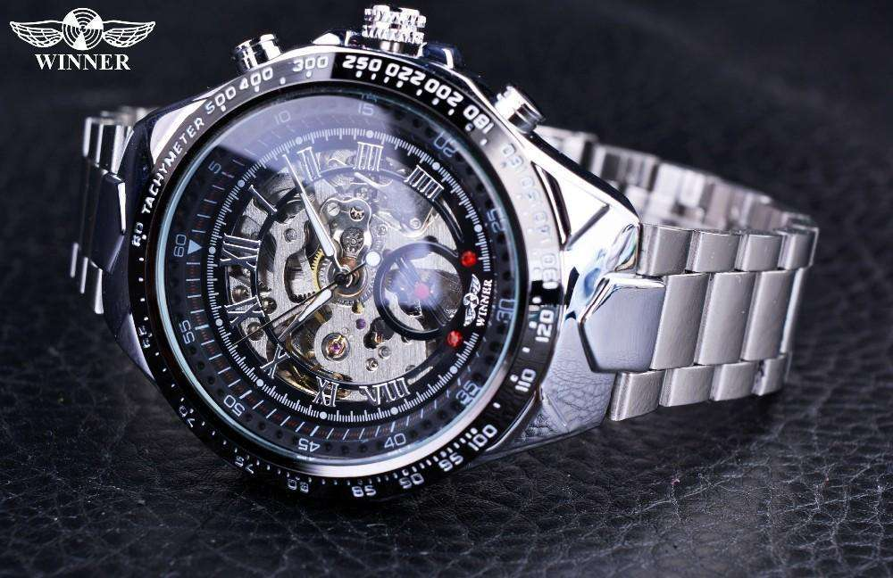 Sport Design Blue And Silver Automatic Watch By Winner