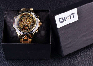 Sport Design Gold And Black Automatic Watch By Winner