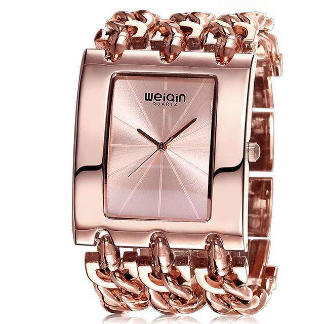 Square Dial Rose Gold Bracelet Watch By WEIQIN