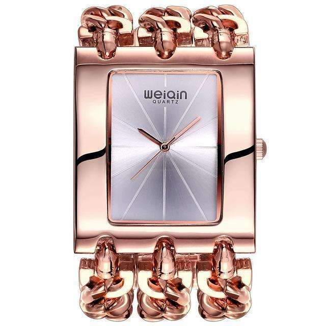 Square Dial Rose Gold Silver Bracelet Watch By WEIQIN