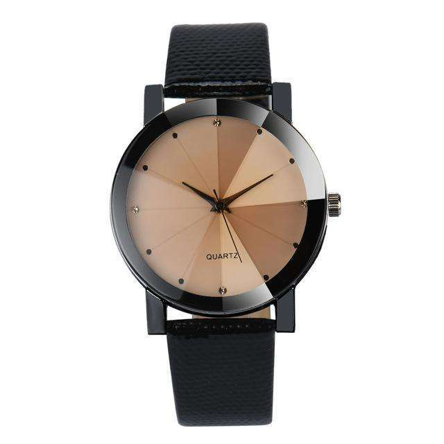 Stainless Steel Black Dial Leather Band Black And Brown Watch By Quartz