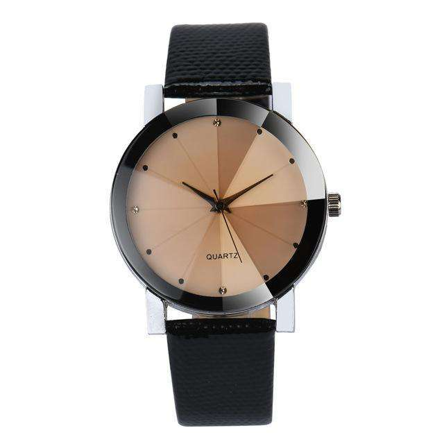 Stainless Steel Dial Leather Band Black And Brown Watch By Quartz