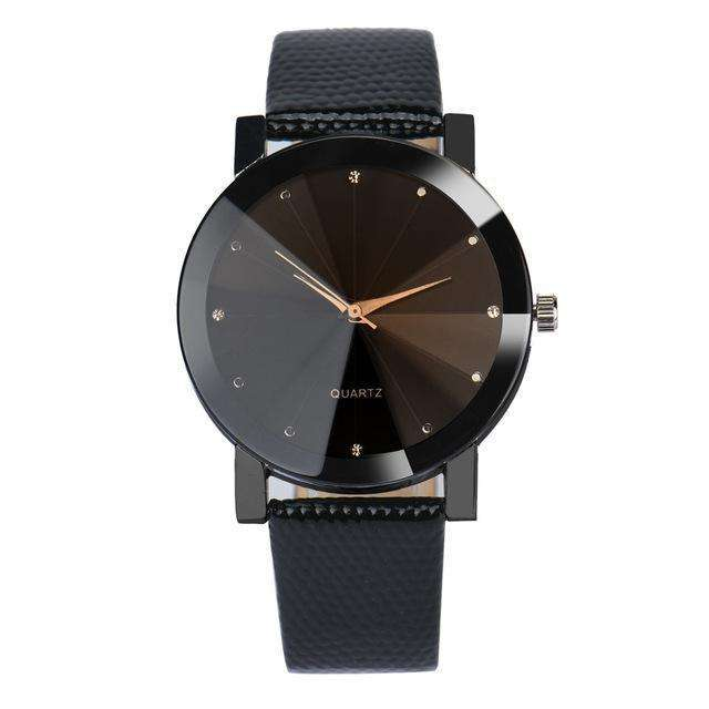 Stainless Steel Dial Leather Band Black Watch By Quartz
