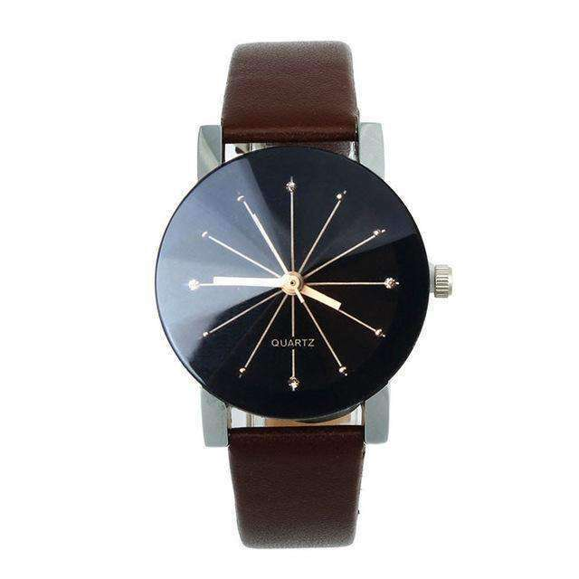 Women Leather Strap Brown Watch By Quartz