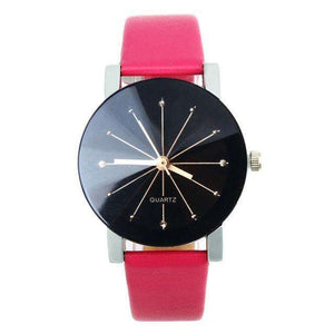 Women Leather Strap Pink Watch By Quartz