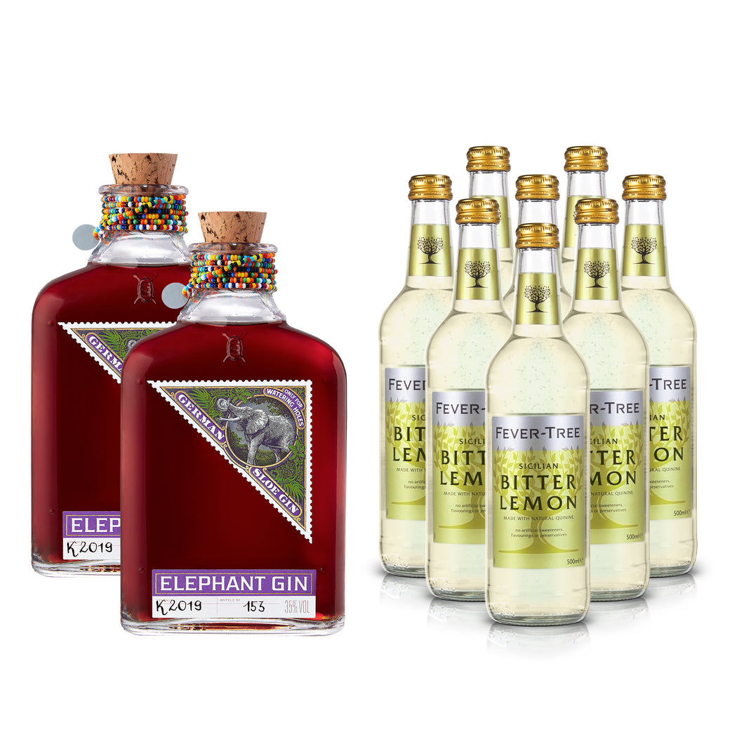 Elephant Sloe Gin 500ml & Fever-Tree Bitter Lemon XL