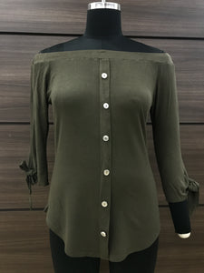 Olive Button Off Shoulder Top
