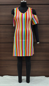 Candy Stripes Cold Shoulder Dress