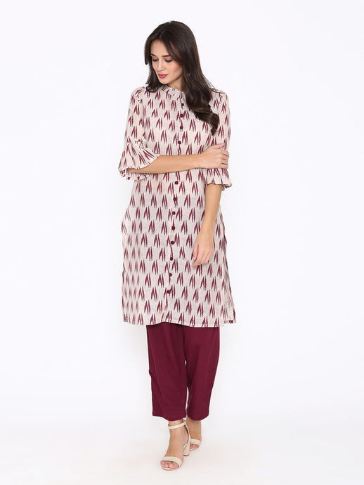 Brown Ikat Kurta