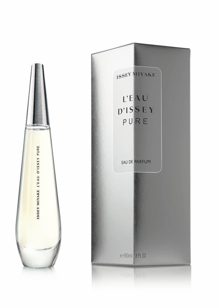 Transparent and yet deep, fluid and yet enveloping, L'Eau d'Issey Pure symbolizes the purity of a drop of water on a woman's skin.  A refined and delicate bouquet of flowers captured in a drop of water.