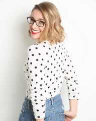 Victoria Eggs polka dot jumper and denim skirt