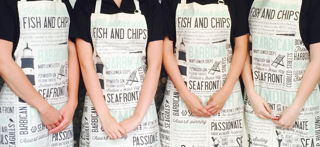 Harbourside fish and chip shop apron by Victoria Eggs
