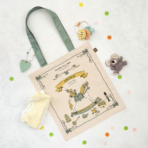 Canvas bag featuring royal baby design in yellow and light green, Canvas bag featuring baby Archie design, Hand illustrated canvas bag featuring the royal baby Archie