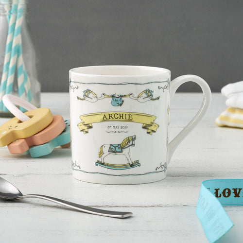 Fine bone china mug featuring design for the royal baby, Royal baby fine china mug, London royal baby mug, Hand illustrated mug featuring royal baby Archie design