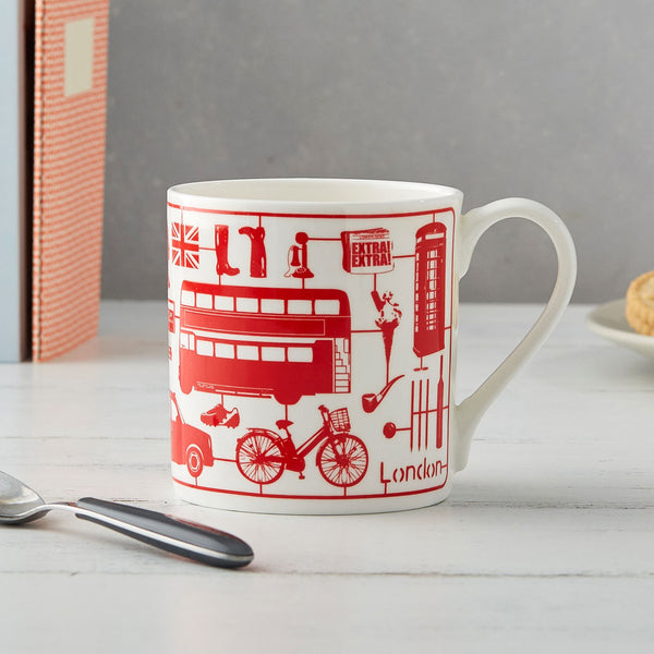 Fine bone china mug featuring iconic London pattern in red, Fine china mug featuring repeating London landmarks in red, Red mug featuring London landmarks and icons, Repeating London pattern mug in red