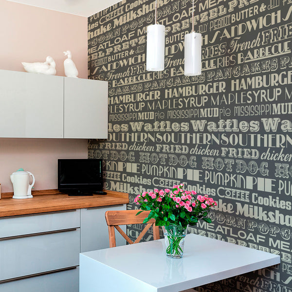 American Diner Wallpaper Taupe