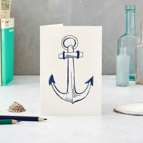 Nautical greeting card featuring large anchor design, Navy blue large anchor design greeting card, Greeting card featuring nautical anchor design in the color blue