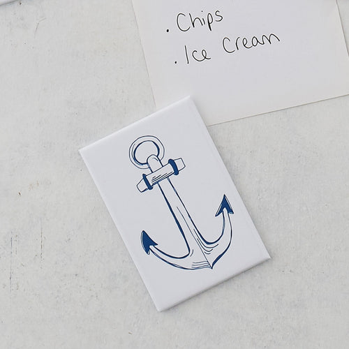 Nautical anchor fridge magnet in white and navy, Fridge magnet featuring navy blue nautical anchor design, Rectangular magnet featuring navy blue anchor design