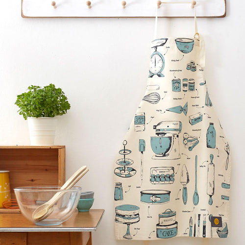 Apron featuring repeating kitchen items design in teal, Charcoal and teal kitchen items design apron, Unisex kitchen apron featuring various baking items