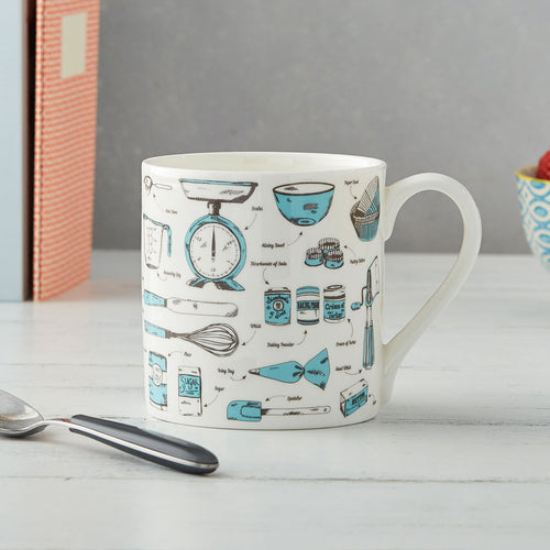 Fine bone china mug featuring repeating design of teal and charcoal baking items, Teal and charcoal fine china mug featuring repeating kitchen tools design, Hand illustrated baking mug in teal and charcoal