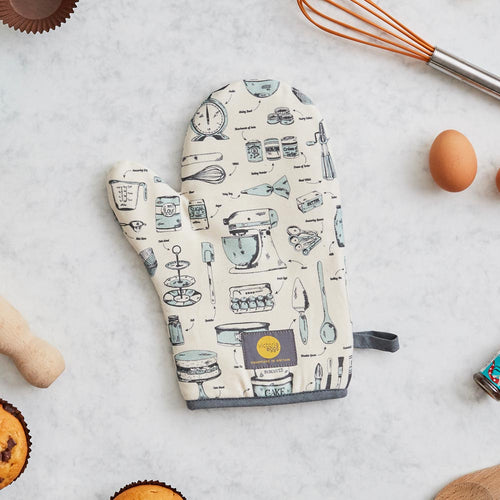 Oven mitt featuring repeating teal and charcoal design with kitchen tools, Baking oven mitt featuring repeating teal and charcoal pattern, Oven mitt featuring various baking tools and items