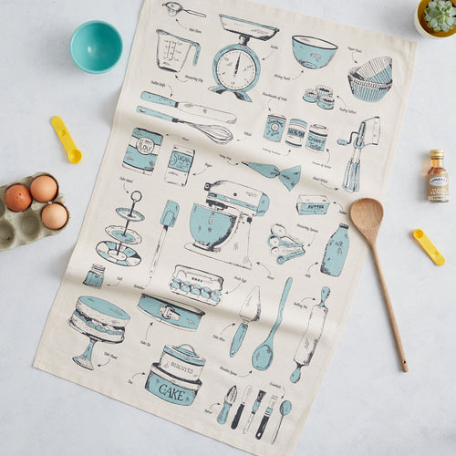 Tea towel featuring repeating teal and charcoal design of baking items, Kitchen towel featuring repeating pattern of baking tools, Dish towel featuring repeating pattern of kitchen tools, Teal and charcoal tea towel featuring baking items