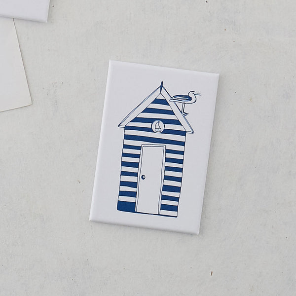 Rectangular magnet featuring beach hut and seagull design in navy and white, Navy and white striped beach hut magnet, Nautical magnet featuring navy and white beach hut and seagull design